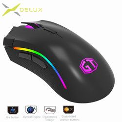 Delux M625 RGB Backlight Gaming Mouse 12000 DPI 12000 FPS 7 tombol Optical USB Kabel Mice Untuk LOL DOTA Permainan player PC Laptop