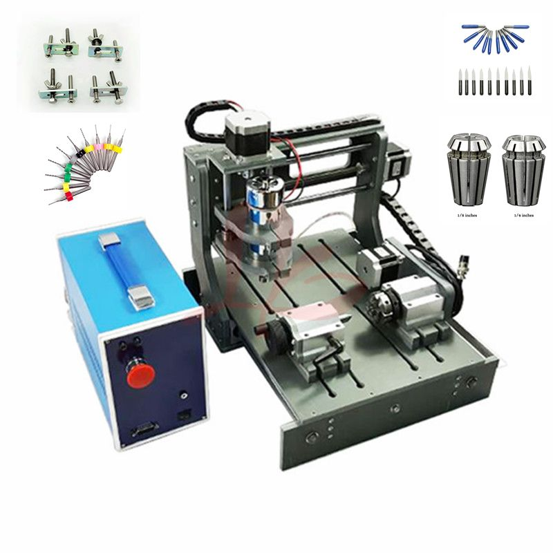 CNC Router 3020 4 achse PCB Fräsmaschine Holz Carving 300 w spindel LPT usb port mit freies cutter clamp bohren collet