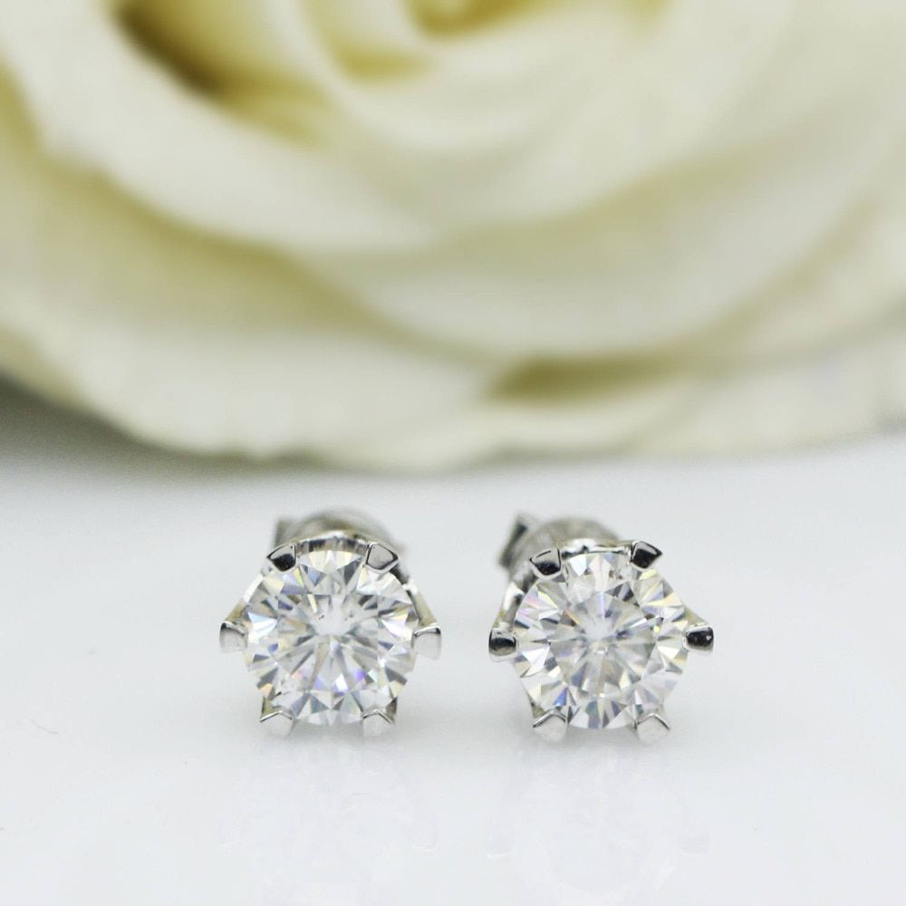 Genuine14K 585 White Gold Push Back 1Carat ctw Test Positive Lab Grown Moissanite Diamond Earrings For Women