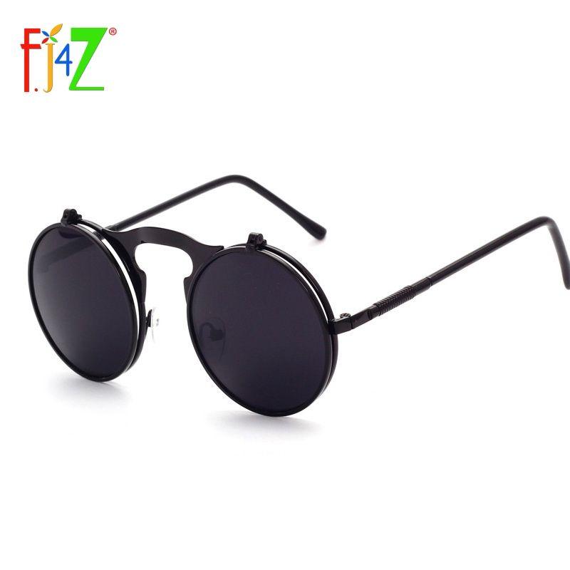 F. J4Z cool fashion designer ronde en métal cadre UV400 protection flip top oculos de lunettes de Soleil pour hommes et femmes lunettes de soleil en gros