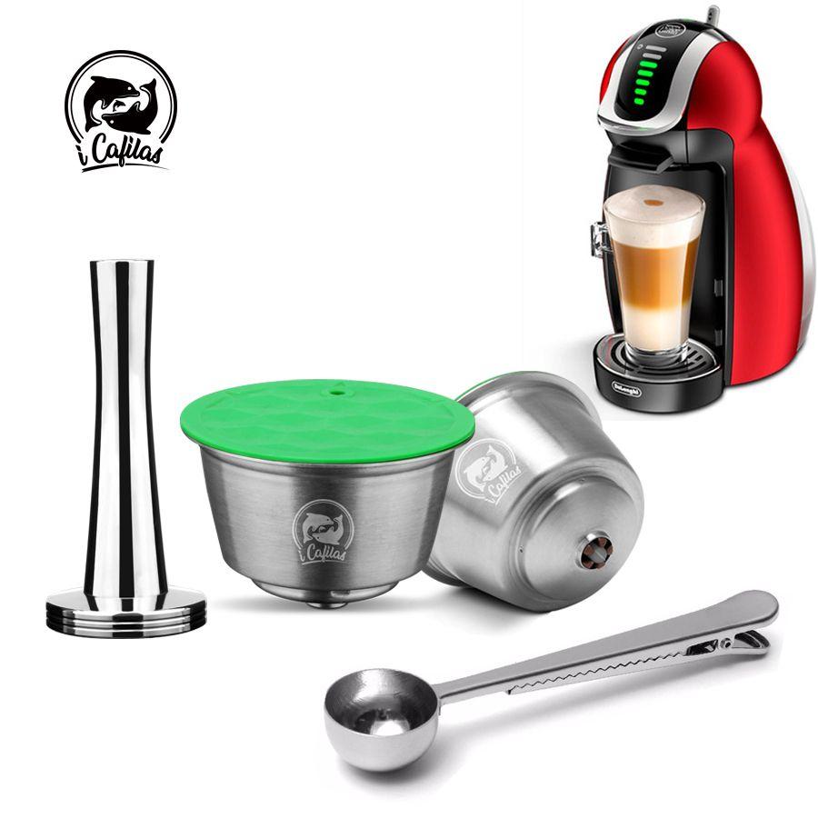 Capsule réutilisable en métal de Dolce Gusto d'acier inoxydable Compatible avec le bourreur rechargeable de goutteur de filtre de Dolci de Machine à café de Nescafe