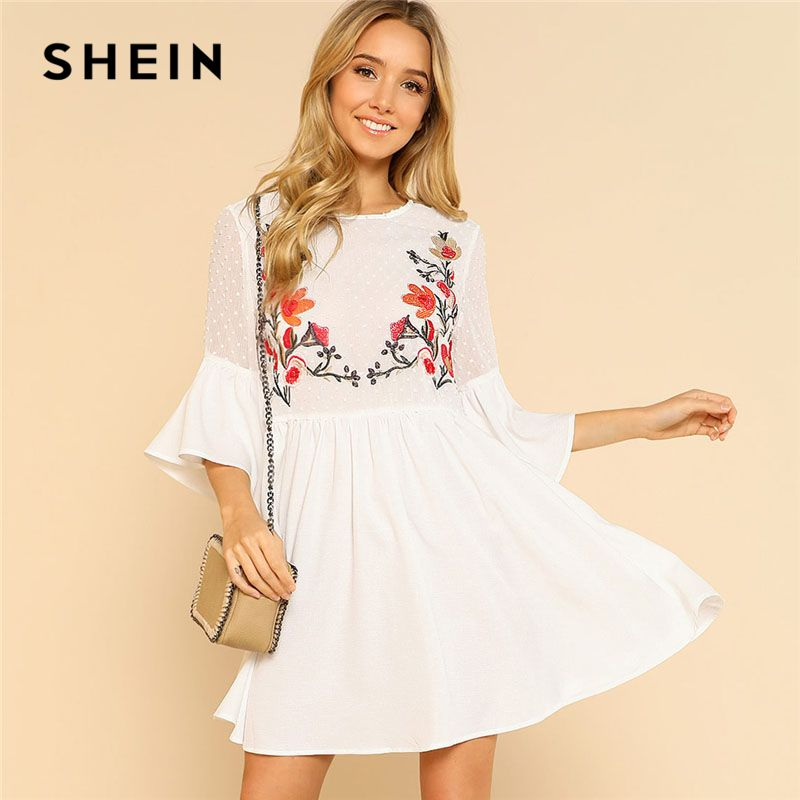 SHEIN Ruffle Flower Embroidered Smock Dress Women Round Neck Half Sleeve High Waist Dress 2018 Flare Sleeve Loose Short Dress