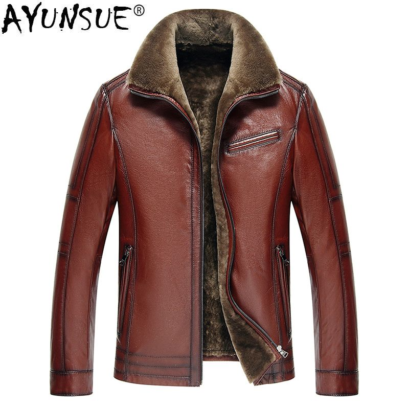 AYUNSUE Men's Genuine Leather Jacket Real Cow Leather Plus Size Cowhide Jackets for Men Natural Lamb Fur Coat 2018 5xl KJ841