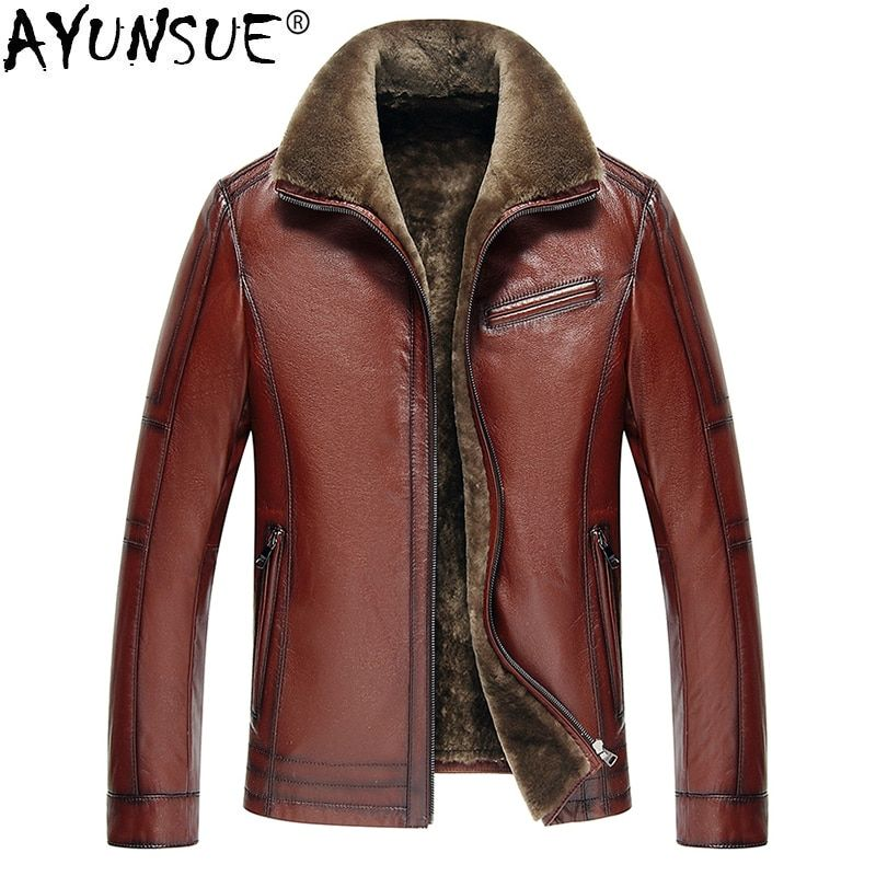 AYUNSUE Men's Genuine Leather Jacket Real Cow Leather Plus Size Cowhide Jackets for Men Natural Lamb Fur Coat 2018 5xl KJ841
