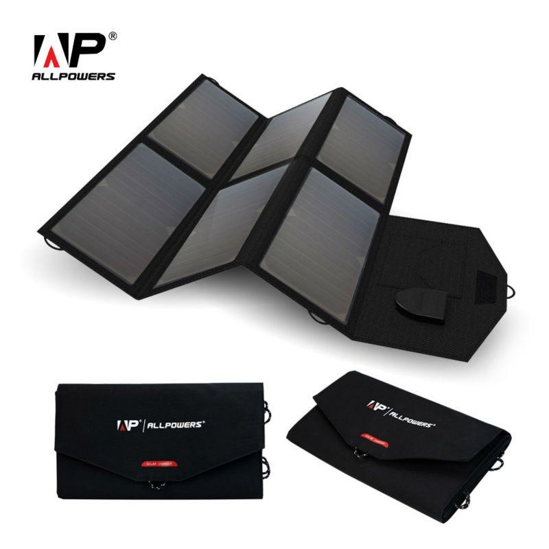 ALLPOWERS Portable Solar Panel Solar Battery 5V 12V 18V Multi Use for iPhone Samsung iPad 12V Car Battery 18~19V Laptops etc.