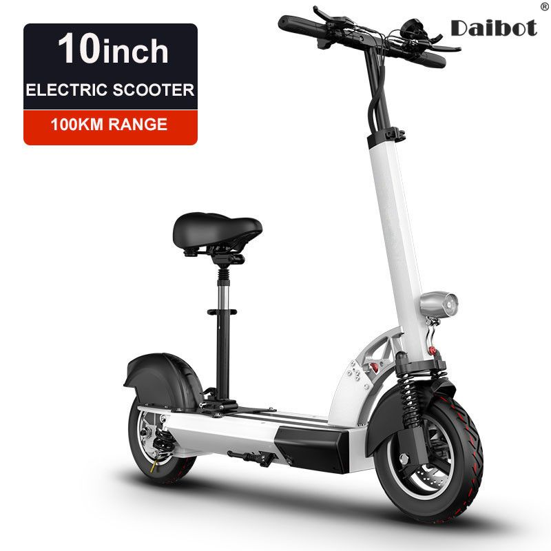 Daibot Folding Electric Bike 48V Two Wheel Electric Scooters With Seat 10 Inch Single Drive 500W Electric Scooters Adults