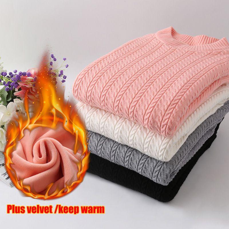 Pull femme 2018 Neue Samt verdickung Pullover pullover frauen O Neck gebraten teig twist stricken pullover frauen Warme winter pullover