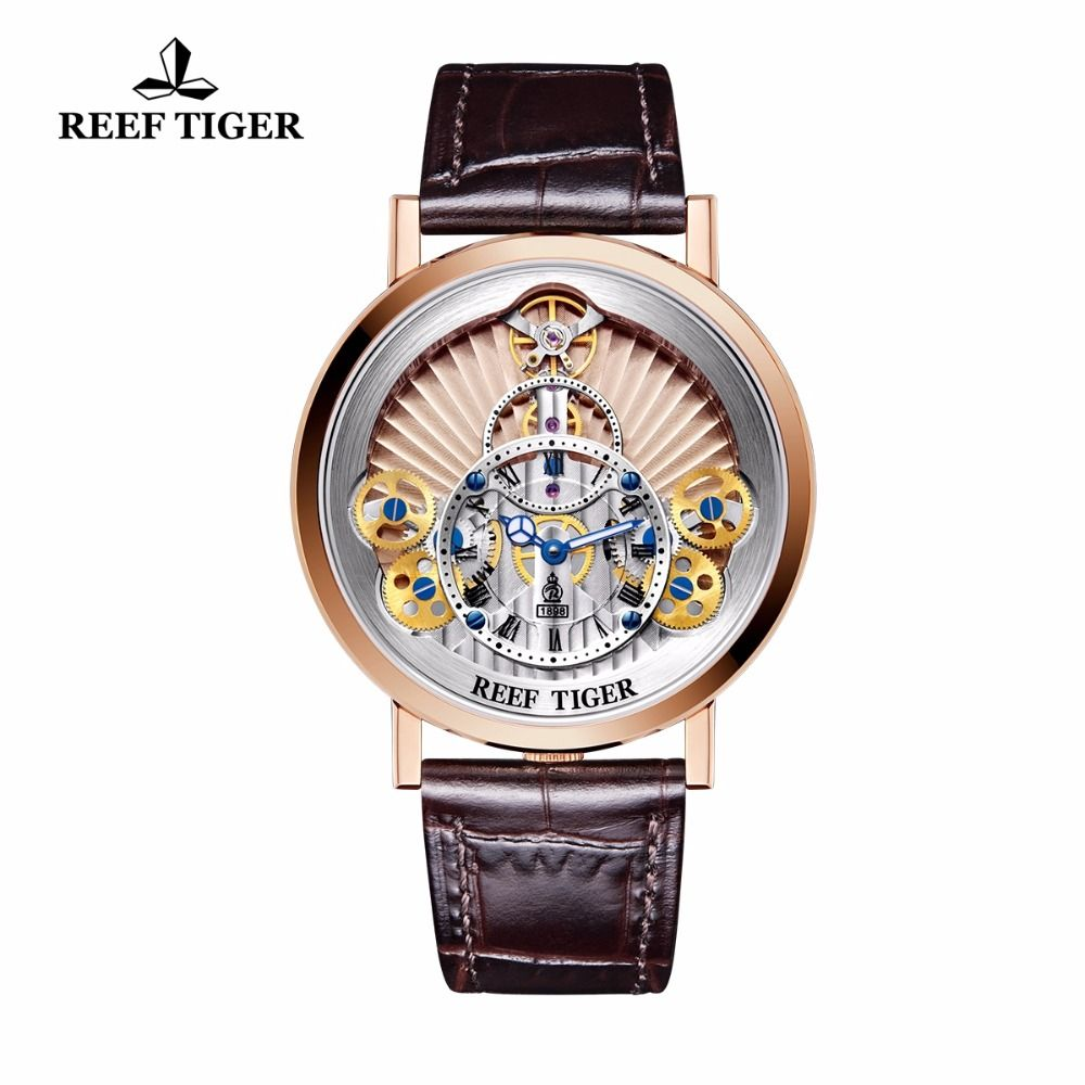 2018 New Reef Tiger/RT Luxury Gear Quartz Watches for Men Rose Gold Skeleton Watches Genuine Leather Strap RGA1958