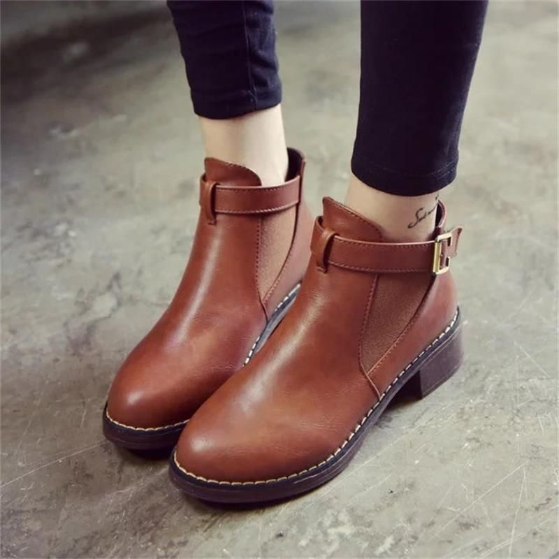 Femmes Cheville Martin Bottes 2018 Automne Femme Casual Chaussures Plates Femme Mode Plateforme Bout Rond Boucle Sangle Solide Confortable