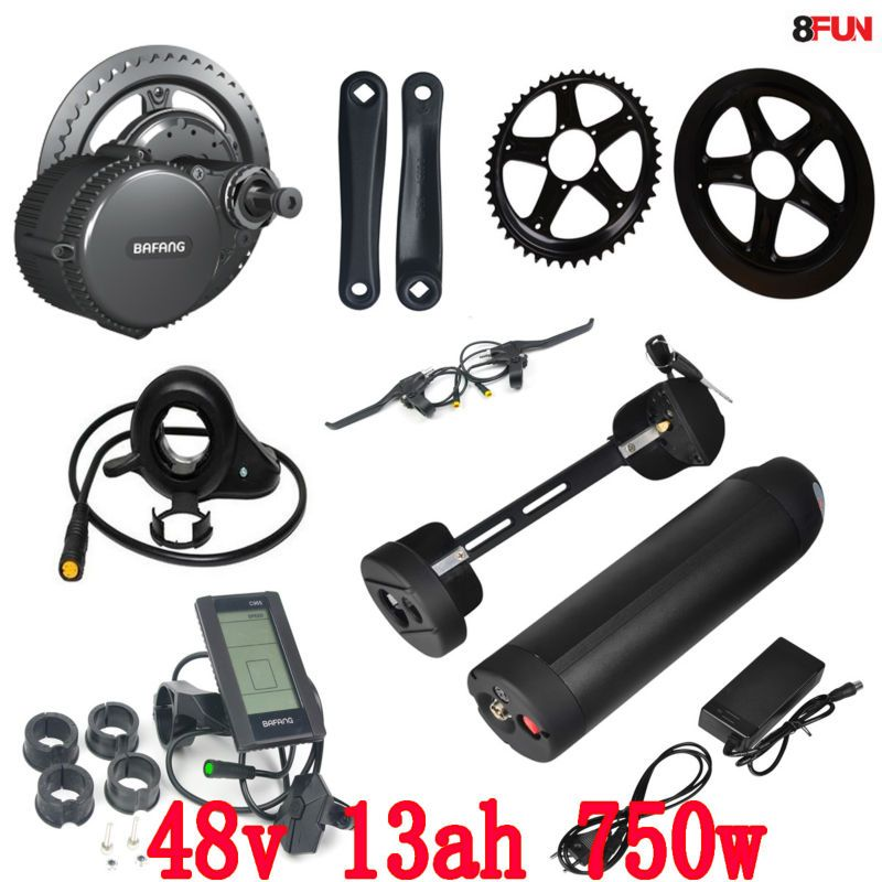 48V 750W BBS02B bafang mid drive electric motor kit + 48V 750W battery 48V 13AH use samsung cell electric bike battery