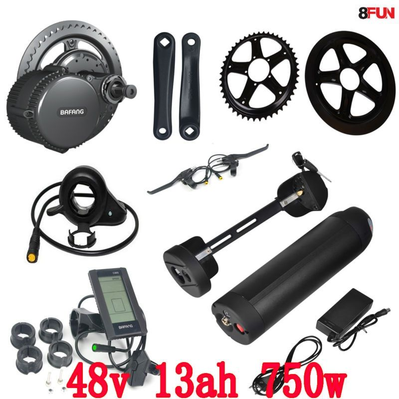 BBS02 Bafang 48V 750W mid drive electric motor kit with 48V 13Ah Li-ion Water bottle ebike battery