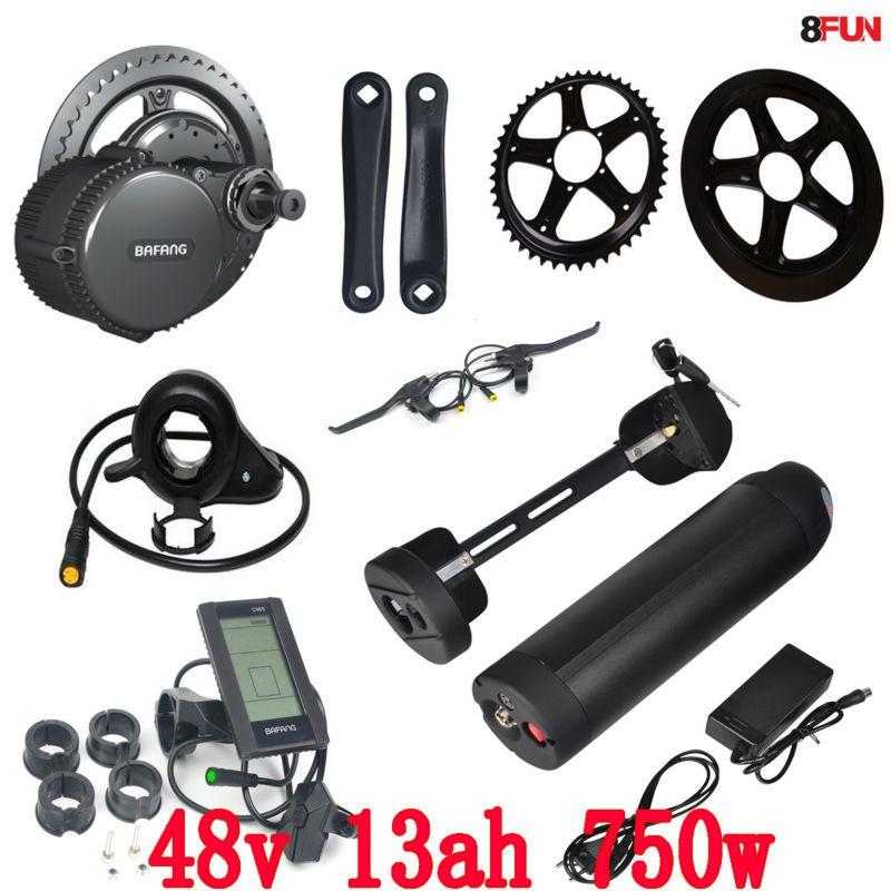 BBS02 Bafang 48V 750W mid drive electric motor kit with 48V 13Ah Li-ion Water bottle ebike battery
