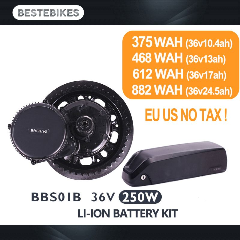 Bafang motor BBS01B 36V 250W electric bike conversion kit batterie velo 36V battery 10.4/13/17/24.5ah EU US CA AUS NZ RU NO TAX