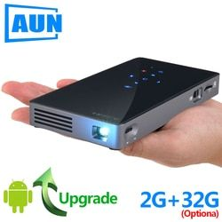 AUN Smart Projector D5S, Android 7.1 (Optional 2G+32G) WIFI, Bluetooth, Battery, HD in, Portable Mini Projector, 3D Beamer