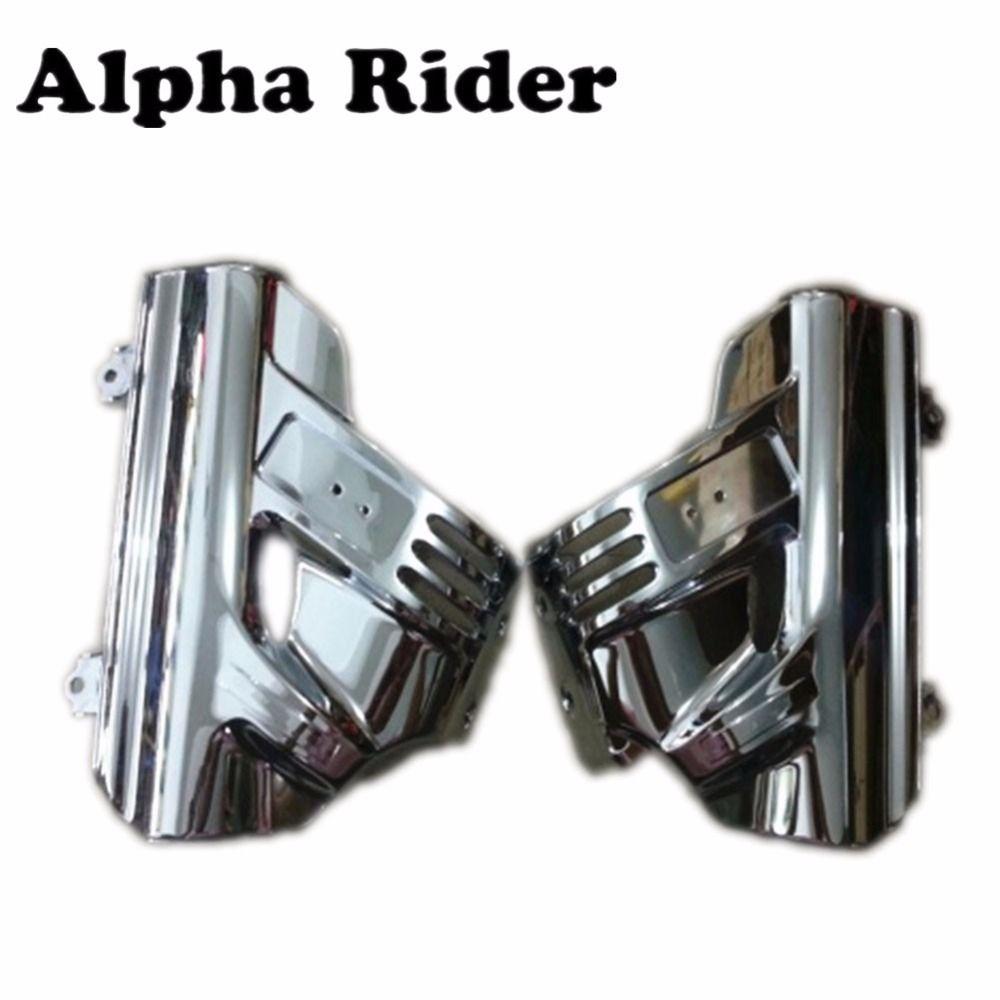ABS Chrome Front Suspension Shock Abdeckung Seite Fender Untere Gabel schild Verkleidung glas-schirm-schutz-film-schutz-w/Airbag für Honda GL Goldwing 1800 GL1800