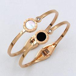 Hitam/Putih Shell Bangle Untuk Wanita Perhiasan Kristal Roman Angka Gelang & Bangles Merek Mewah Cinta Cuff Bangle K0053-1