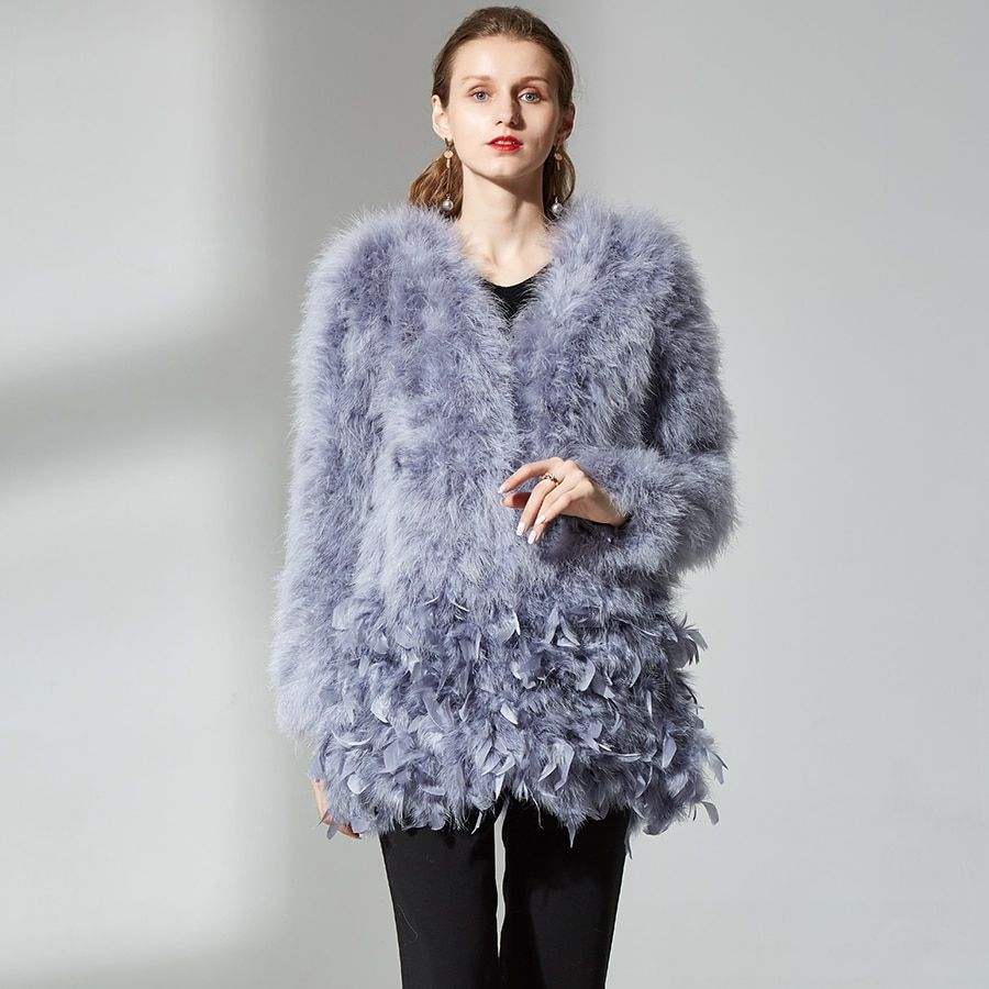 top quality real ostrich wool turkey feather coat shearling women jackets elegant fashion specialnew real fur coat