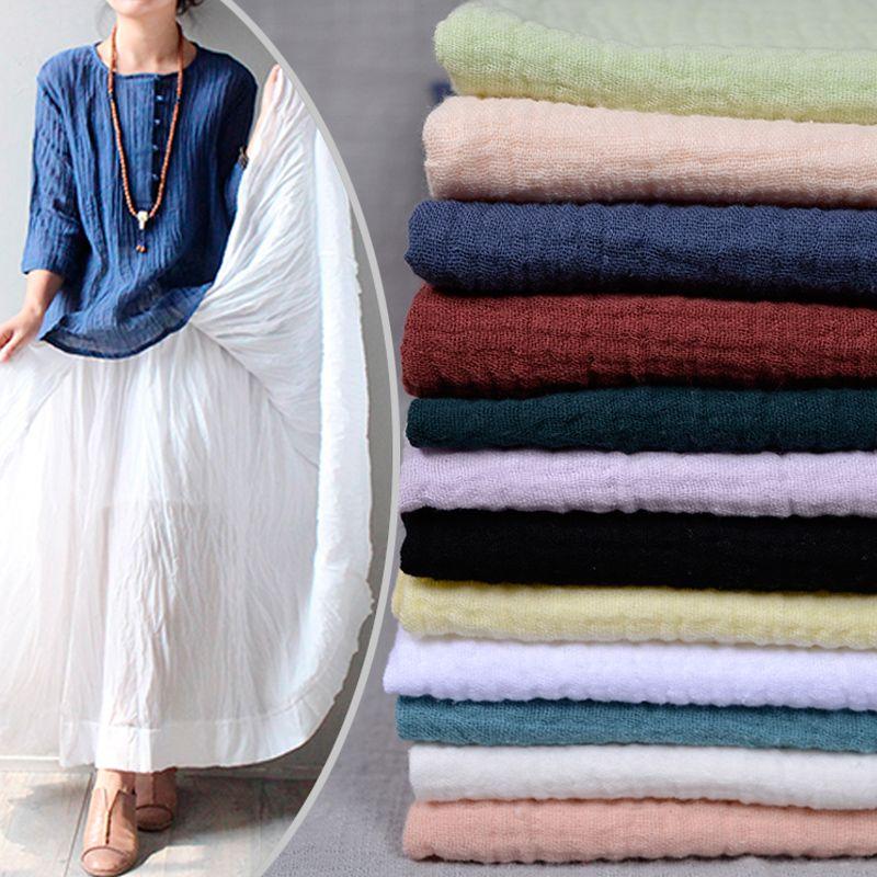 Double pont épais bambou ma coton lin tissu 1.3 m de large style chinois plissé tissu solide couleur d'été vêtements robe bricolage