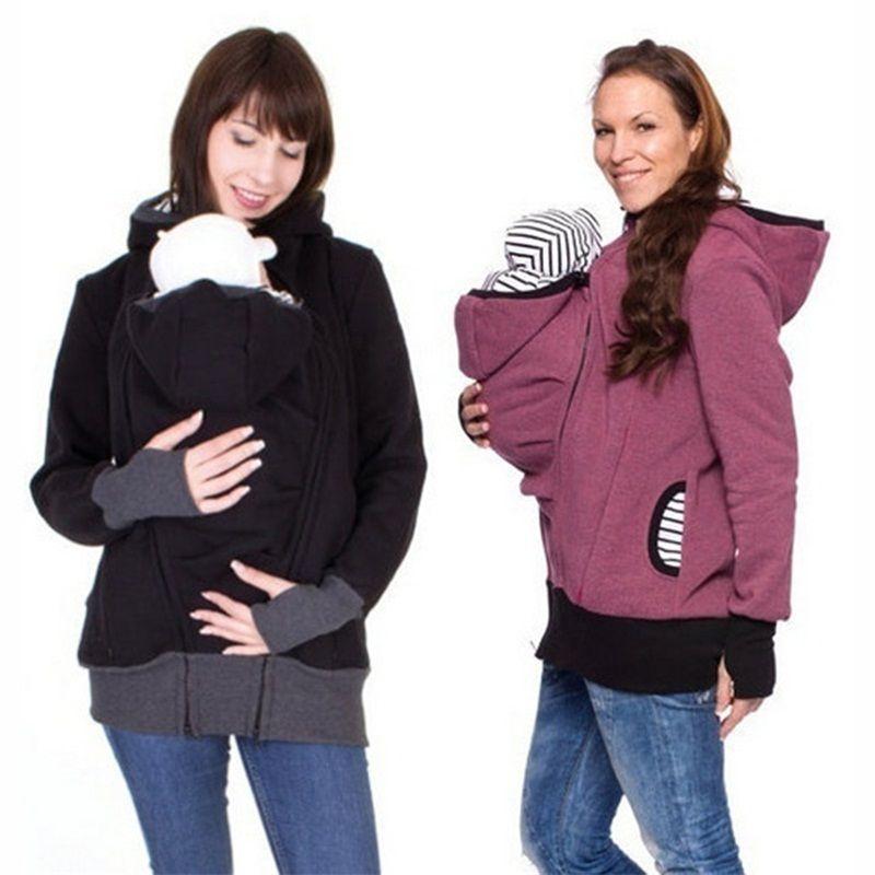 Модный Стиль Длинные рукава для мамы на осень-зиму женщин hoddies переноски для малышей Толстовка пальто на молнии для беременных теплая одежд...
