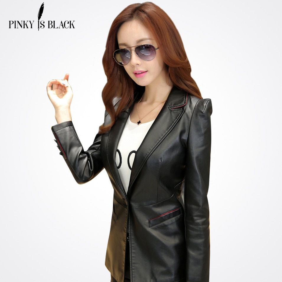 Pinky Is Black spring and autumn leather jacket women's office clothing slim suit collar lady motocycle leather coat outerwear
