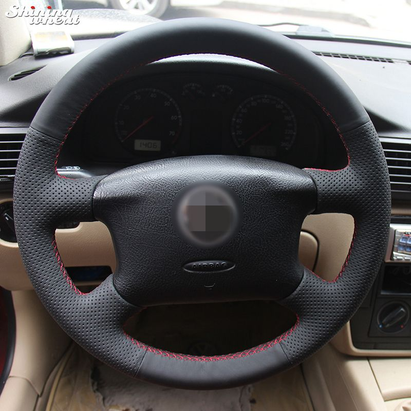 Shining wheat Hand-stitched Black Leather Steering Wheel Cover for Volkswagen Passat B5 VW Passat B5 VW Golf 4