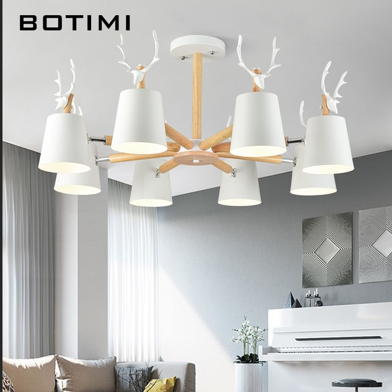 BOTIMI Modern LED Chandelier Lighting For Living Room Black Chandeliers Wooden Lustres Wood Dining Lamp White Kitchen Lights