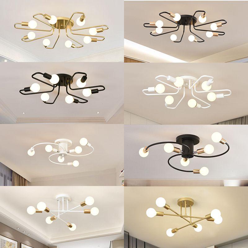 Freies led-lampen 85-265V E27 Chander Lichter Vintag LED Kronleuchter Industrielle lampen 6 Lichter Kronleuchter Leuchte Weiß