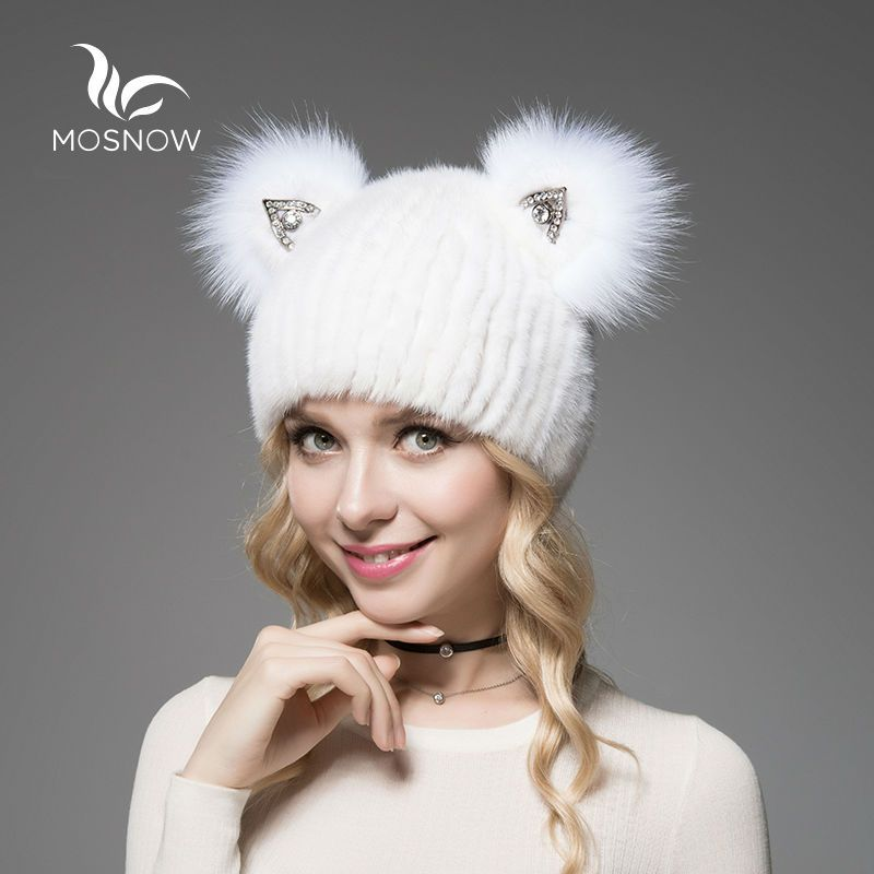 MOSNOW 2018 Brand New Hat Female Winter Real Mink Fur With Cute Cat Ear Knitted Striped Solid Casual Women Hat Caps Bonnet Femme