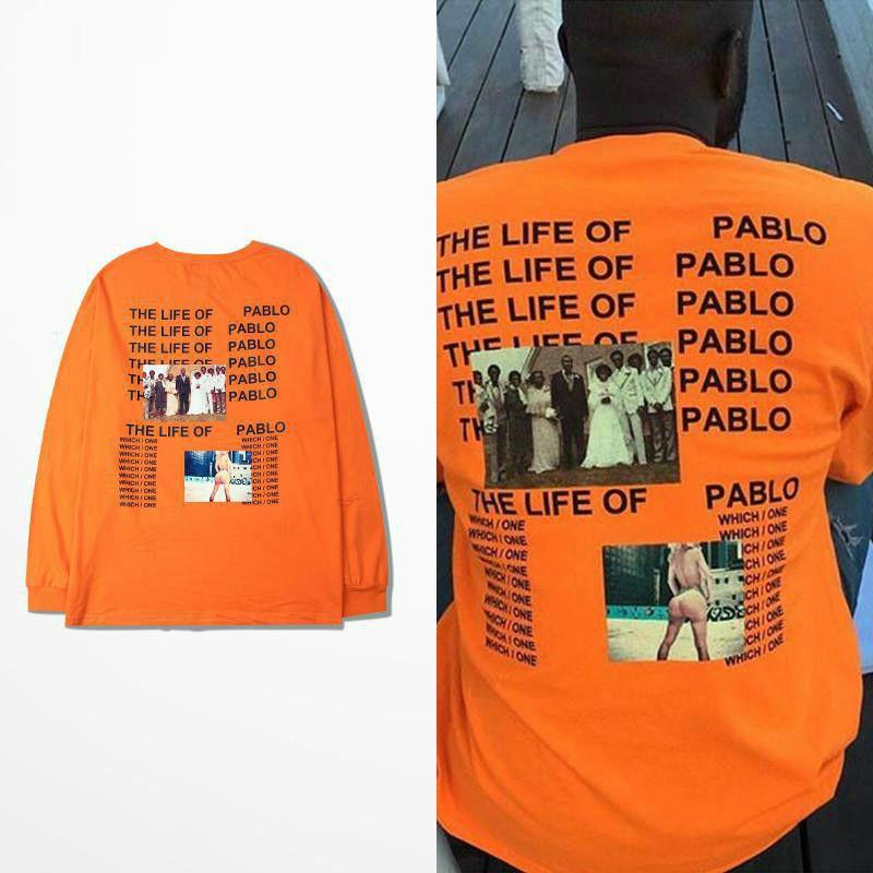 Kanye West T-shirt American Tide Marke Hip Hop Die Lebensdauer Pablo Langarm T-shirt Orange Unterlage T-shirt Ich Fühle Mich Wie Pablo