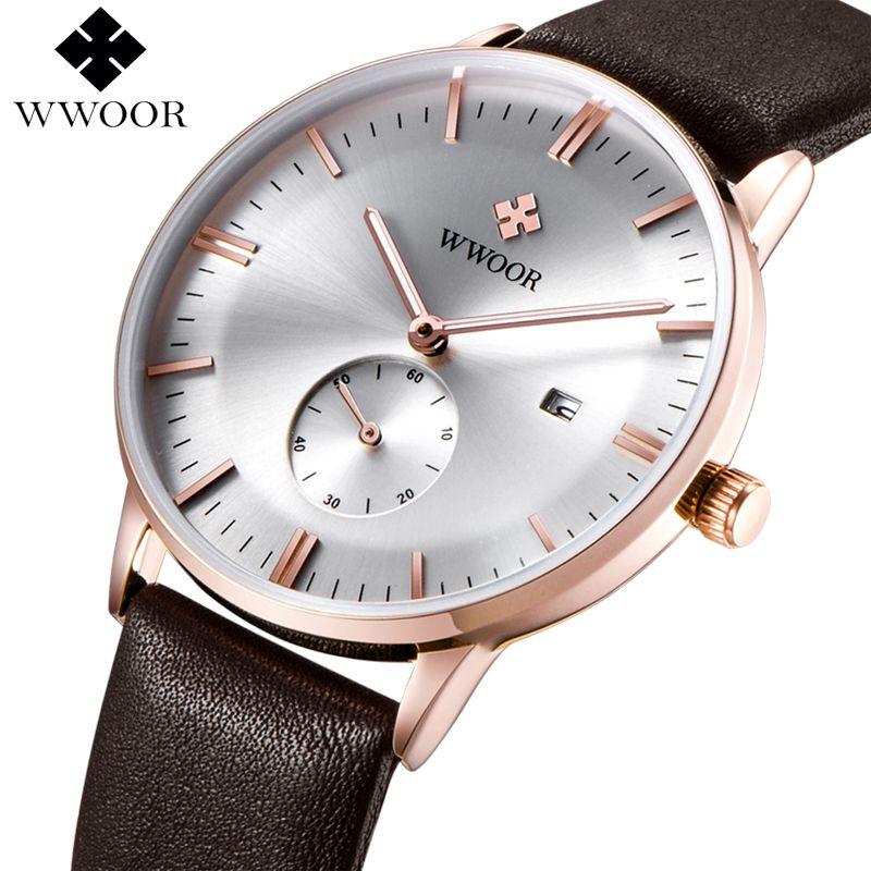 WWOOR Marque Montre Hommes Quartz Ultra mince Date Horloge Hommes Montres De Luxe Véritable Cuir Homme Sport Montre-Bracelet Relogio Masculino