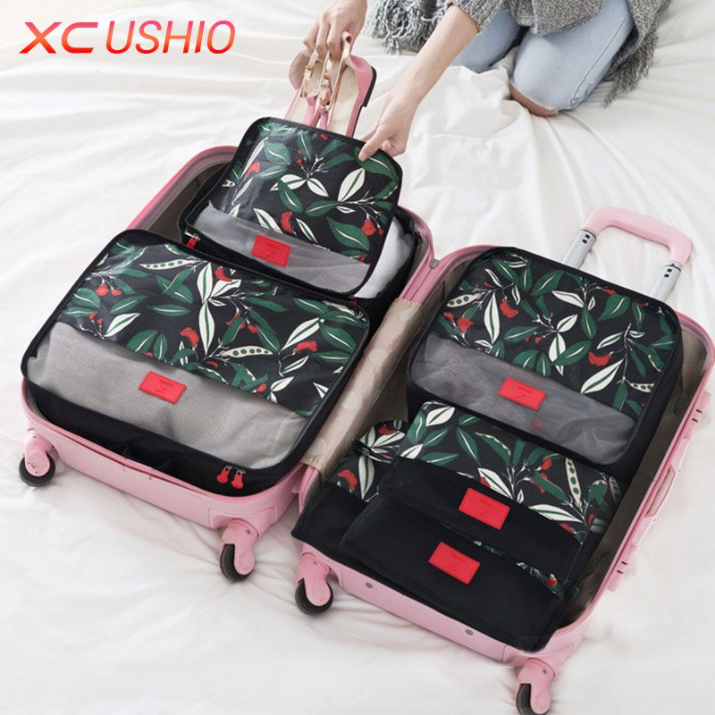 6pcs/set Floral Pattern Travel Storage Bag Set Luggage Divider Container Travel Suitcase Organizer Clothes Pouch Storage Case