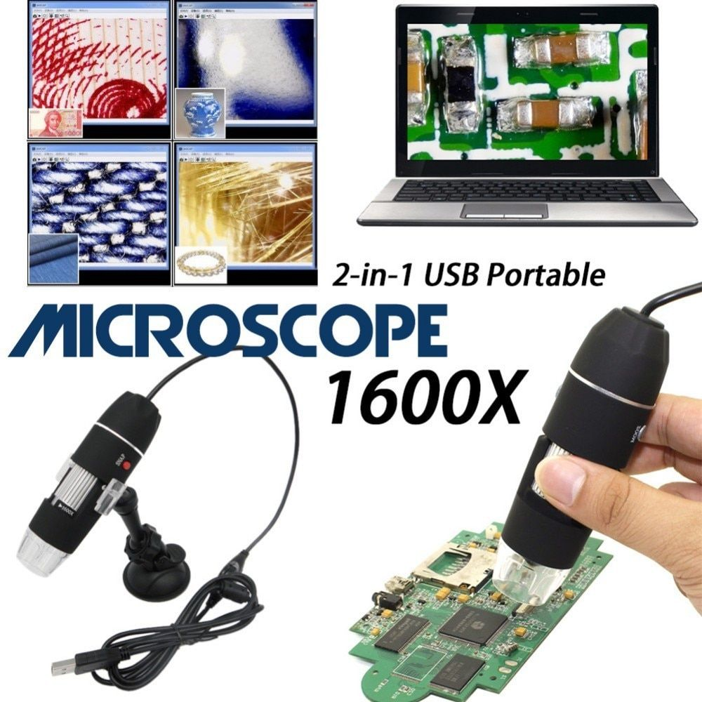 Mega Pixels 1600X 8 LED Digital Microscope USB Endoscope Camera Microscopio Magnifier Electronic Stereo Tweezers Magnification