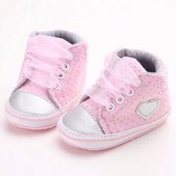 2018 Classic casual Zapatos de bebé niño recién nacido lunares bebé Niñas otoño Encaje-up Primeros pasos sneakers Zapatos