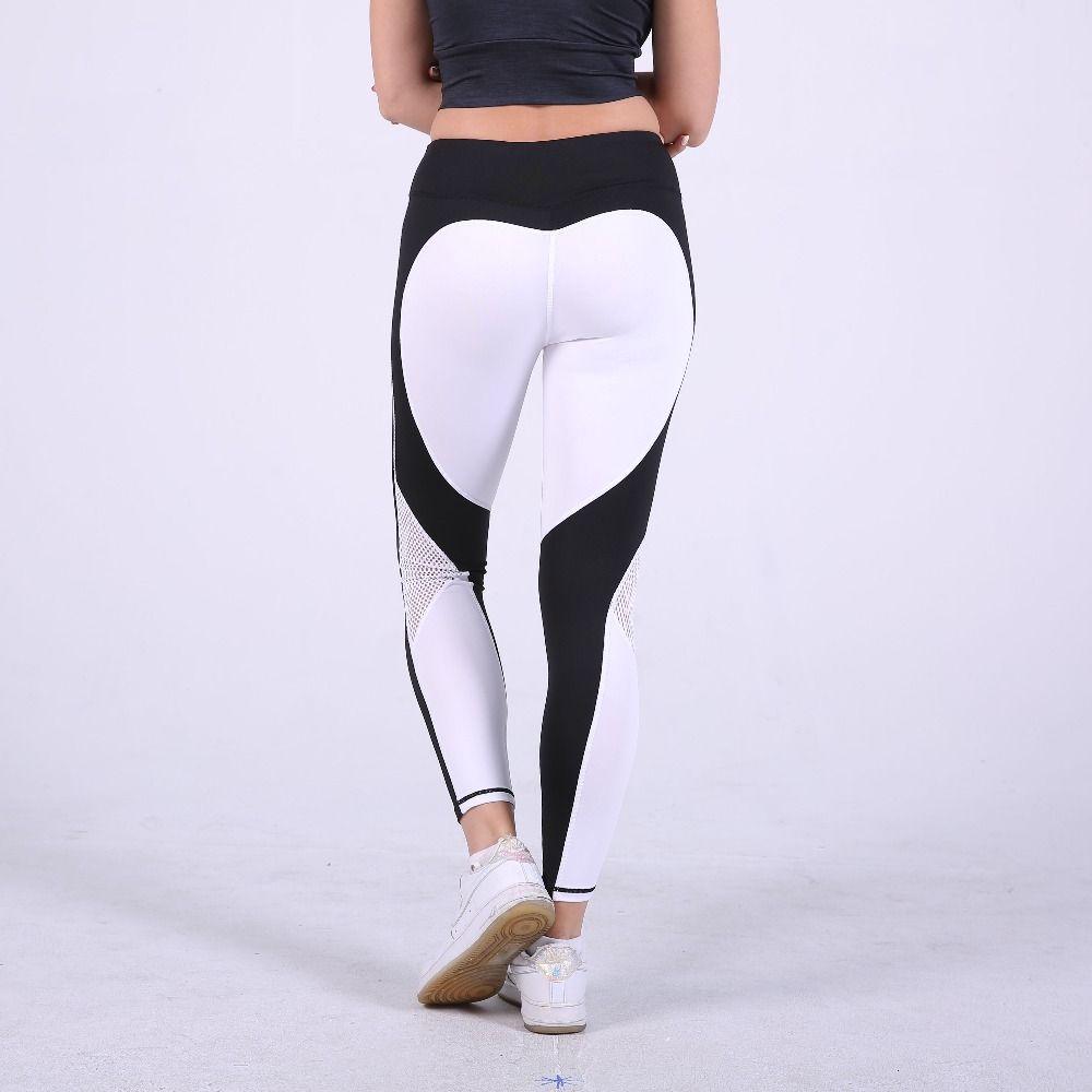 S-QVSIA coeur motif maille splice legging harajuku athleisure vêtements de fitness sport élastique sportives leggings femmes pantalon