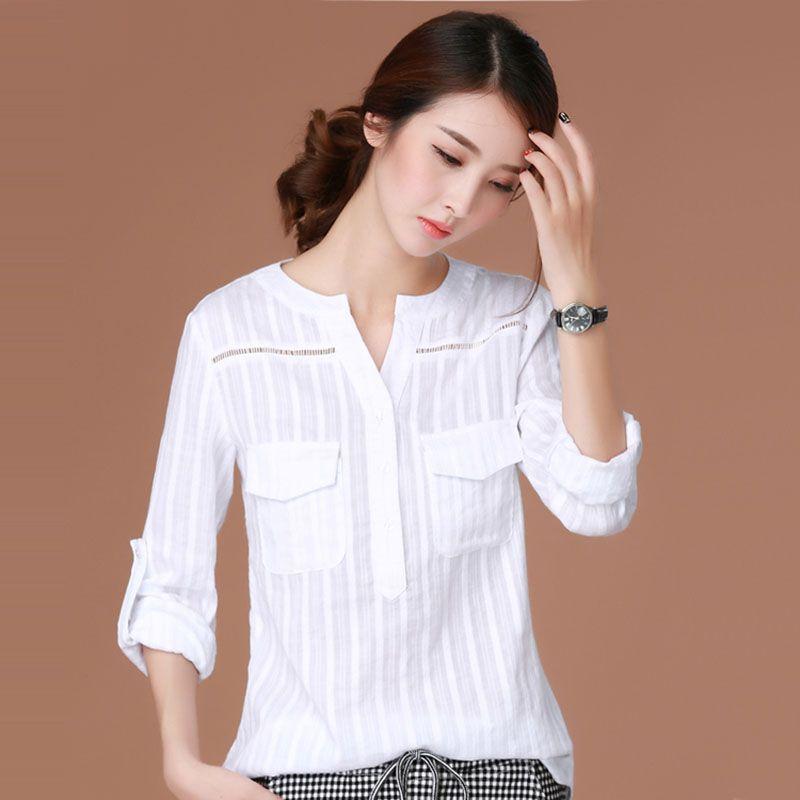 Blusas femininas 2018 e Camisas рубашка с длинными рукавами женская одежда белая блузка плюс Размеры корейской моды Костюмы сорочка Femme
