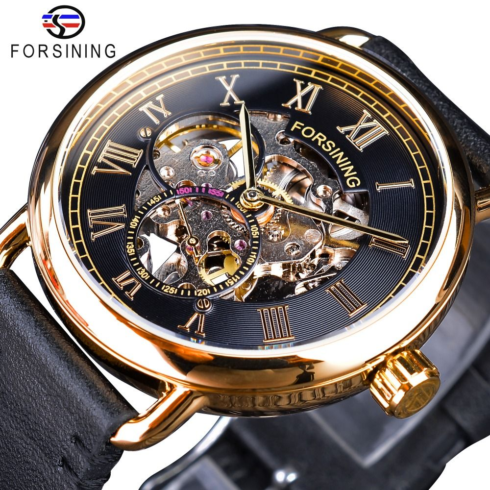 Forsining Classic Black Golden Openwork Watches Skeleton Mens Mechanical Wristwatches Top Brand Luxury Black Genuine Leather