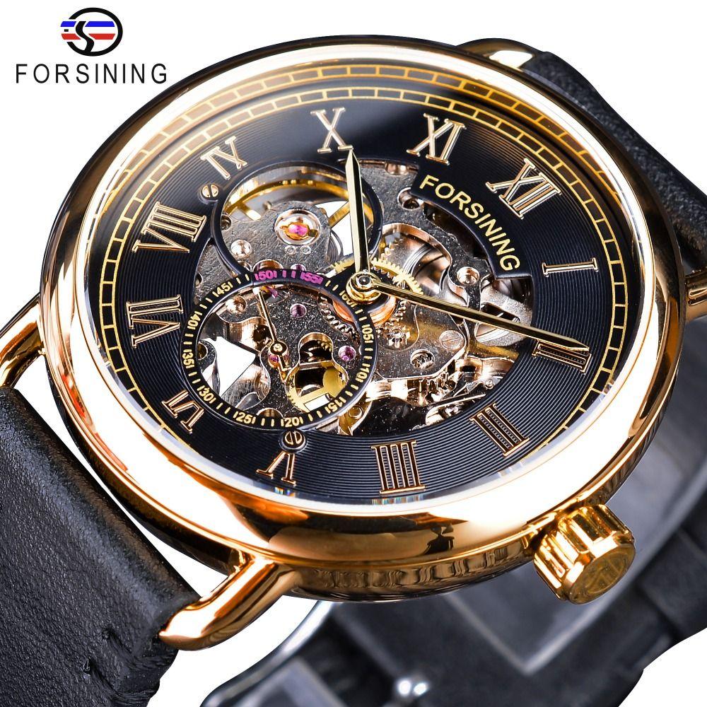 Forsining classique noir doré ajouré montres squelette hommes mécaniques montres Top marque de luxe noir véritable cuir