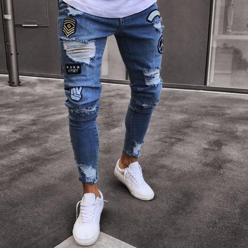 Trou brodé jeans Slim hommes pantalons nouveau 2019 décontracté mince été Denim pantalon classique Cowboys jeune homme noir bleu