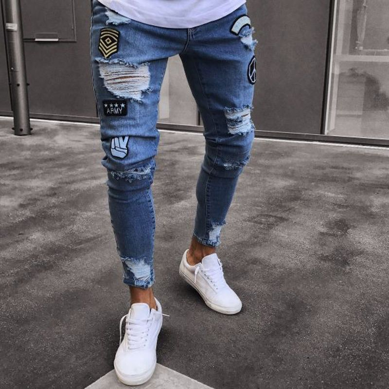 Trou de jeans brodés Mince hommes pantalon NOUVEAU 2019 hommes décontracté Mince D'été pantalon denim Classique Cowboys Jeune Homme noir bleu