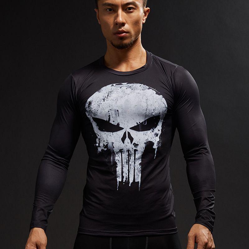 Punisher 3D Imprimé T-shirts Hommes Compression Shirts À Manches Longues Cosplay Costume crossfit fitness Vêtements Tops Mâle Noir Vendredi
