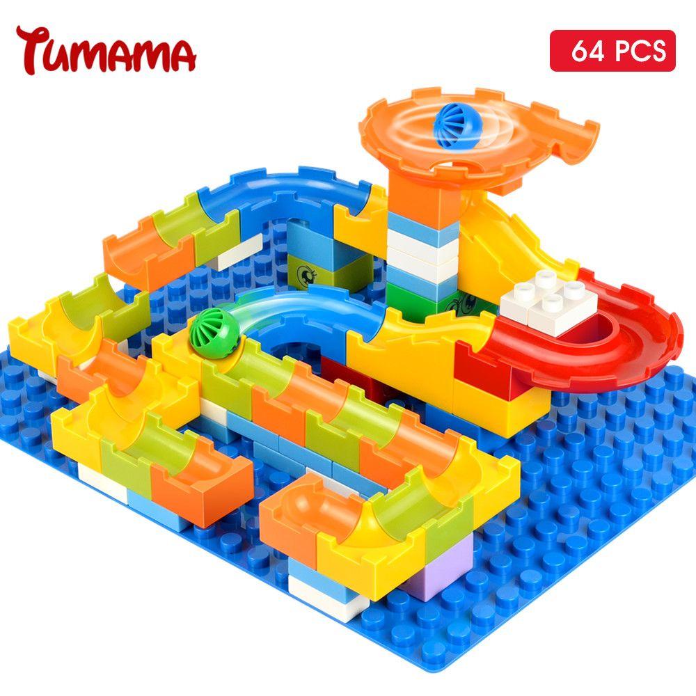 Tumama 64pcs Marble Race Run Maze Balls Track Big Size Building Blocks Kids Construction Educational Toys Compatible With Duplo