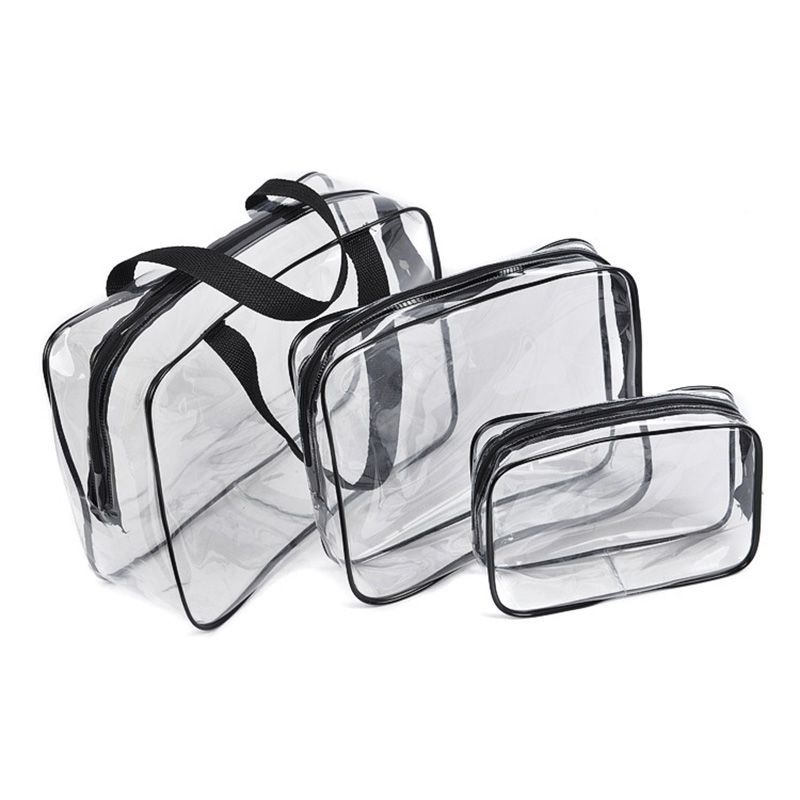 3Pcs/set Waterproof Transparent Travel Wash Bag PVC Cosmestic Bags In Bag Travel Organizer Hanging Storage Bags