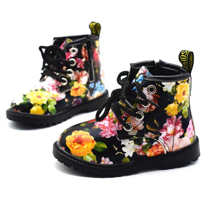 2019 filles bottes automne hiver PU cuir imperméable enfant bottes chaussures Zip Rome fleur petite fille Martin bottes mode bébé bottes