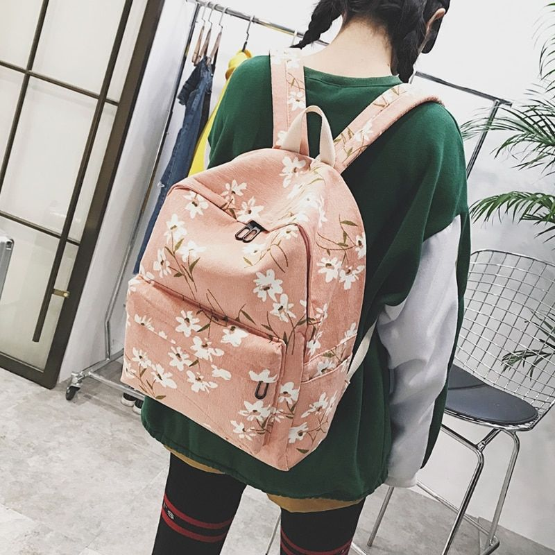 Women Girl Canvas 9302 Rucksack Flower Backpack School Book Travel Shoulder Bag Preppy Style Hard Handle