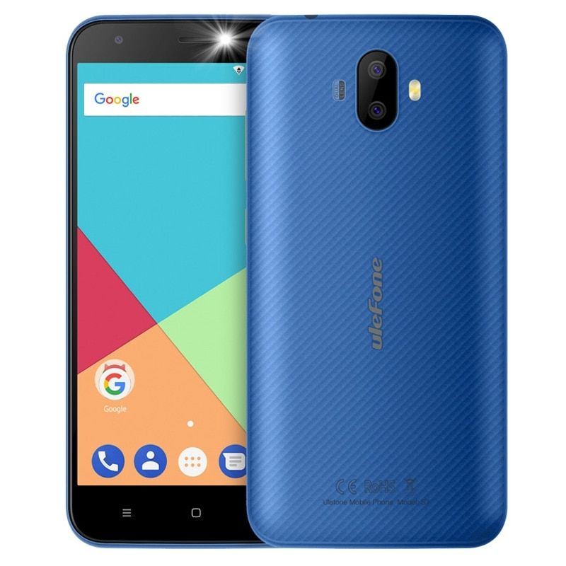 Ulefone S7 3G Mobile Phone 5.0 inch HD MTK6580 Quad Core Android 7.0 1GB RAM 8GB ROM 2500mAh 8MP Dual Rear Cameras Smartphone