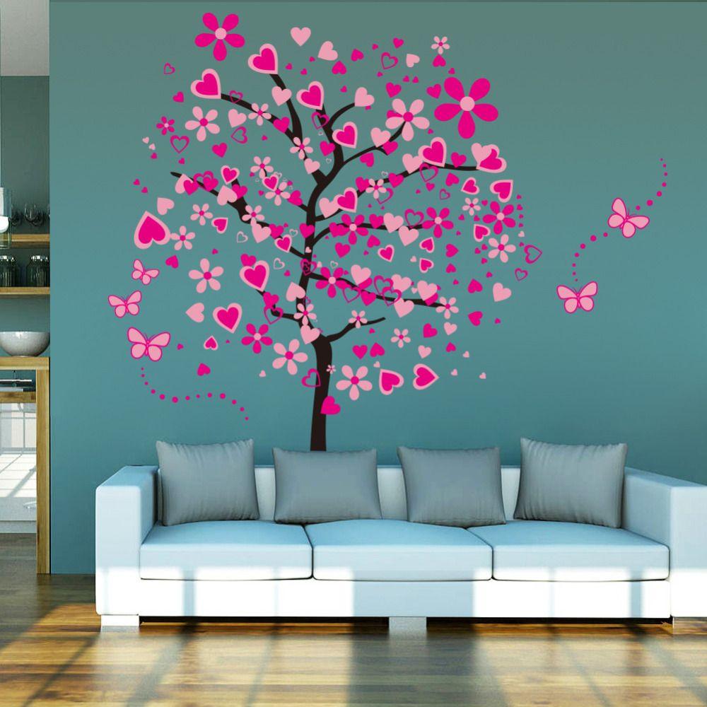 Nouvelle Arrivée DIY Grand Papier Peint Pour Rose Papillon Fleur Arbre Salon Chambre Toile de Fond Décor À La Maison Stickers Muraux 60*90 cm * 2
