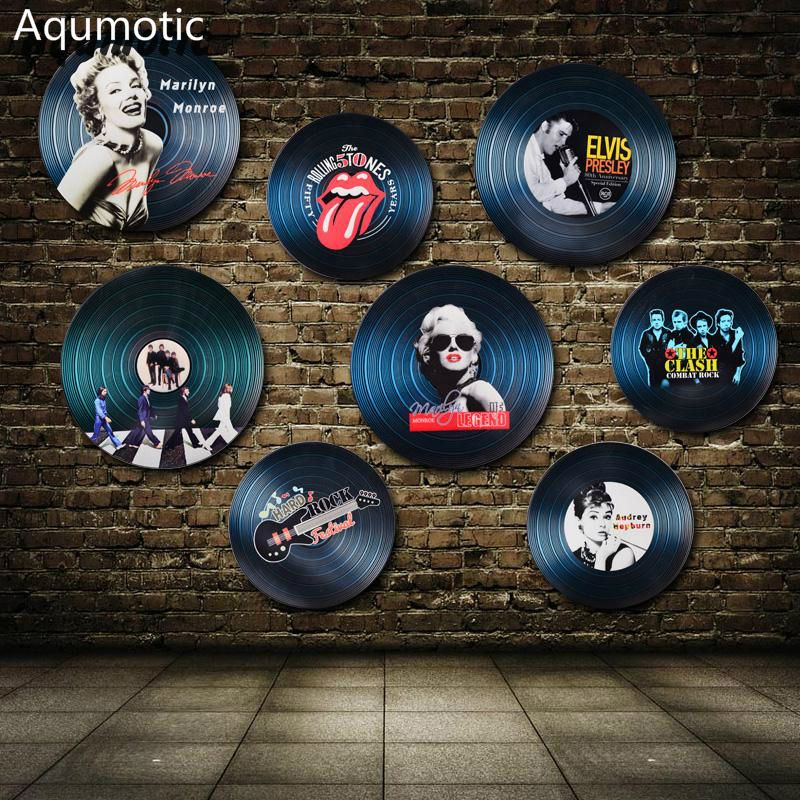 Aqumotic Wood Vinyl Record Wall Sticker Record Decorations Model Europe Star US Star Wall Decor For Bar Coffee <font><b>House</b></font> Rock Color