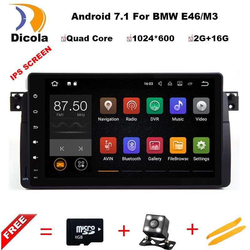 Android 7.1 Quad Core GPS Navigation 9 zoll Full Touch Auto DVD Multimedia für BMW E46 3 Serie/M3 95 -05 mit BT/RDS/Radio/Canbus