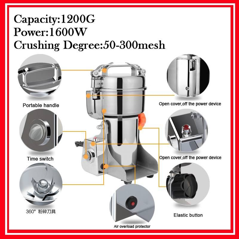 1200G Big Capacity Coffee Beans Grain Mill Powder Flour Machine Home Electric Swing Mill Herb Grinder