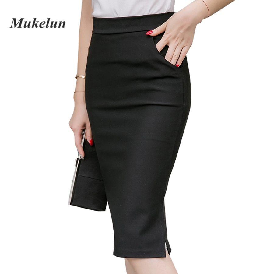 2019 Sexy femmes travail jupe Slim moulante été taille haute poches Split formel OL bureau dames noir grande taille jupes crayon